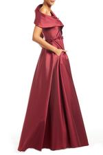 Crossover Satin Gown with beaded belt - Bordeau