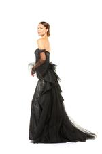 Fully Beaded Fitted Gown with Tulle Sleeves & Frilled Overskirt - Black