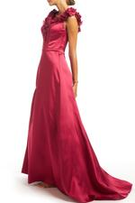 Crossover Satin Gown - Red