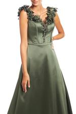 Crossover Satin Gown - Green