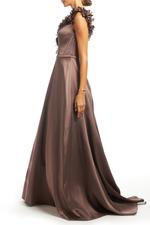 Crossover Satin Gown - Brown