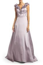 Crossover Satin Gown - Lilac