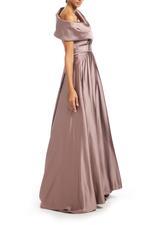 Off-Shoulder Satin Taffeta Gown - Brown