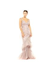 Fitted Off Shoulder Beaded Layered Lace Gown - Peach/Pink