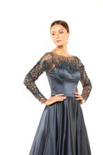 Satin Gown with Mesh beaded Sleeves & neckline - Blue