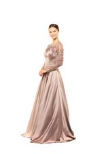 Satin Gown with Mesh beaded Sleeves & neckline - Rose