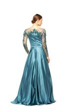 Satin Gown with Mesh beaded Sleeves & neckline - Turquoise