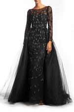 Overskirt Lace Gown with Long Sleeves, Petals - Black