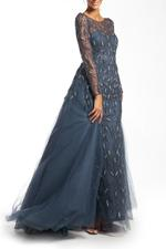 Overskirt Lace Gown with Long Sleeves, Petals - Blue