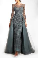 Overskirt Lace Gown with Long Sleeves, Petals - Gray