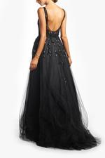 Overskirt Lace Gown without Sleeves, Petals - Black