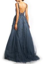 Overskirt Lace Gown without Sleeves, Petals - Blue