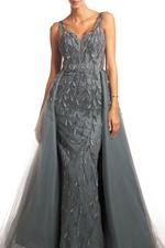 Overskirt Lace Gown without Sleeves, Petals - Gray