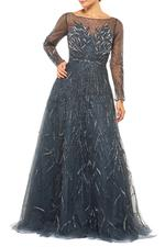 Tulle & Satin Gown with Mesh Sleeves & Beading  - Blue
