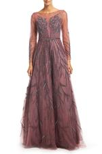 Tulle & Satin Gown with Mesh Sleeves & Beading  - Rose