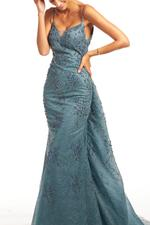 Off Shoulder Beaded Gown - Blue