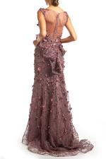 Lace Gown with Petals & Pearls - Rose