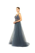Fitted Beaded Gown with 3D Flowers & Overskirt - Blue