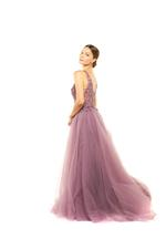 Fitted Beaded Gown with 3D Flowers & Overskirt - Lilac