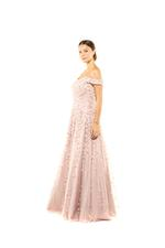 Off Shoulder Beaded Gown - Peach/Pink