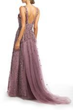 Off Shoulder Beaded Gown - Rose