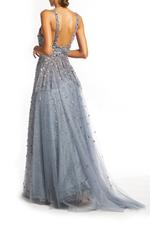 Off Shoulder Beaded Gown - Gray