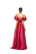 Frilled Satin Gown - Red