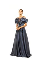 Frilled Satin Gown - Blue