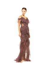 Fitted Beaded Layered Lace beaded Gown - Brown