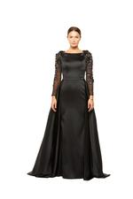 Satin Gown with Mesh beaded Sleeves & overskirt - Black