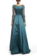 Satin Gown with Mesh beaded Sleeves & overskirt - Blue