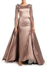 Satin Gown with Mesh beaded Sleeves & overskirt - Beige