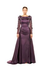 Satin Gown with Mesh beaded Sleeves & overskirt - Dark Purple