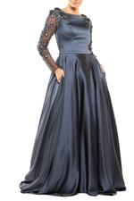 Satin Gown with Mesh beaded Sleeves & Full skirt - Blue