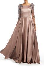 Satin Gown with Mesh beaded Sleeves & Full skirt - Beige