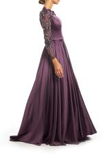 Satin Gown with Mesh beaded Sleeves & Full skirt - Purple