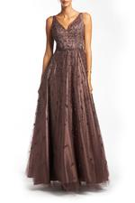 Off Shoulder Beaded Gown - Brown