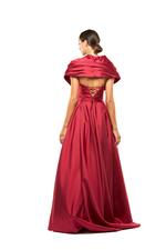 Off-Shoulder Satin Taffeta Gown - Red