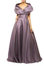 Off-Shoulder Satin Taffeta Gown - Lilac
