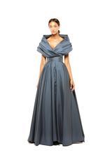 Off-Shoulder Satin Taffeta Gown - Grey