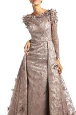 Lace Gown with Long Sleeves, Petals & Pearls - Rose