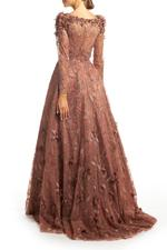 Lace Gown with Long Sleeves, Petals & Pearls - Brown