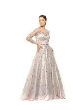 Satin Gown with Tulle Sleeves & Hand Beading  - Peach/Pink