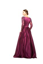 Satin Gown with Mesh Sleeves & Floral Beading  - Dark Purple