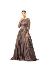 Satin Gown with Mesh Sleeves & Floral Beading  - Brown