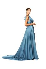 Ruffled Crepe Satin & Organza Gown - Blue