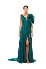 Ruffled Crepe Satin & Organza Gown - Green