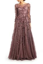 Lace Gown with Long Sleeves, Petals & Pearls - Purple