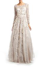 Lace Gown with Long Sleeves, Petals & Pearls - Off-White