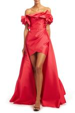 Off-Shoulder Overskirt Satin Taffeta Gown - Red
